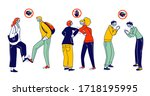 characters greeting each other... | Shutterstock .eps vector #1718195995