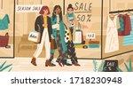trendy girls shopping together. ... | Shutterstock .eps vector #1718230948