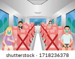social distancing chair space... | Shutterstock .eps vector #1718236378