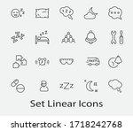 sleep vector line icons set.... | Shutterstock .eps vector #1718242768