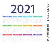 french calendar 2021 year. week ... | Shutterstock .eps vector #1718243788