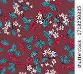 tasty  juicy cherries. seamless ... | Shutterstock .eps vector #1718250835