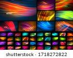 Set Of Fluid Color Wave Line...
