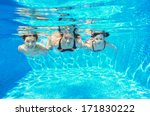 happy family swim underwater in ... | Shutterstock . vector #171830222