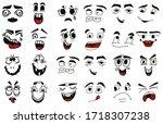 cartoon faces. kawaii cute... | Shutterstock .eps vector #1718307238