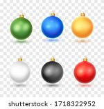 set of realistic christmas ball.... | Shutterstock .eps vector #1718322952