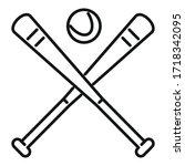 baseball bat icon. outline... | Shutterstock .eps vector #1718342095