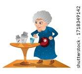 grandma takes a pills. old... | Shutterstock .eps vector #1718349142