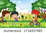 background scene with kids...   Shutterstock .eps vector #1718357485