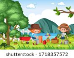 background scene with kids... | Shutterstock .eps vector #1718357572
