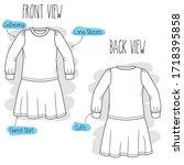 Dress Sketch. Black And White...