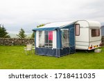 Caravan With A Porch Awning Se...
