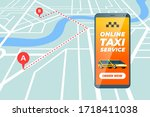 smartphone with online taxi... | Shutterstock .eps vector #1718411038