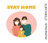 "information banner ""stay home."" ... | Shutterstock .eps vector #1718411872"
