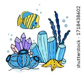 the underwater world with fish  ... | Shutterstock .eps vector #1718438602