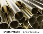 Stack Of Metal Pipes  Abstract...