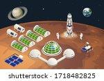 isometric mars colonization ... | Shutterstock .eps vector #1718482825