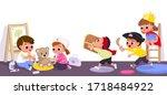 children play in kinder garden. ... | Shutterstock .eps vector #1718484922