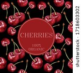 stylized red cherries on a... | Shutterstock .eps vector #1718603302