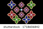 set of jewelry with rubies... | Shutterstock .eps vector #1718606842