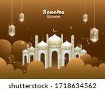 islamic holy month of prayers ... | Shutterstock .eps vector #1718634562