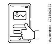 user experience black line icon....