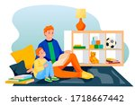 happy father and son reading... | Shutterstock .eps vector #1718667442