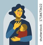 mother woman hugging her child...   Shutterstock .eps vector #1718673622