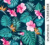 blossom flowers for seamless... | Shutterstock .eps vector #1718681068