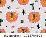 lion animal tropical pattern ... | Shutterstock .eps vector #1718704828