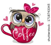 cute cartoon owl with a bow is... | Shutterstock .eps vector #1718743345