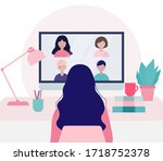 young woman doing a video... | Shutterstock .eps vector #1718752378