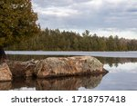 Large Granite Rock Juts Out...