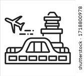 airport black line icon....