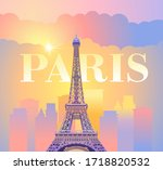 eiffel tower in paris. evening... | Shutterstock .eps vector #1718820532