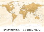 world map   vintage physical... | Shutterstock .eps vector #1718827072
