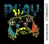 play gamepad poster. joystick... | Shutterstock .eps vector #1718836015