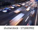 fast cars on highway in evening ... | Shutterstock . vector #171883982