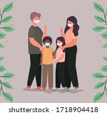 family with masks and leaves... | Shutterstock .eps vector #1718904418