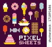 Pixel Art Isolated Sweets...