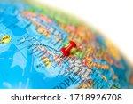 Uk Map. Earth Globe Close Up...