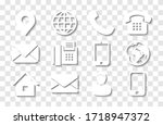 white contact info icon set... | Shutterstock .eps vector #1718947372