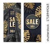 tropical leaves vertical sale...   Shutterstock .eps vector #1718949265