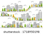 city illustration with a thin... | Shutterstock .eps vector #1718950198