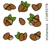 almond set. collection icon... | Shutterstock .eps vector #1718955778