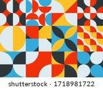 neo geo design mural pattern....   Shutterstock .eps vector #1718981722