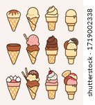 ice cream cone collection with... | Shutterstock .eps vector #1719002338