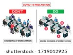 do and don't poster for covid... | Shutterstock .eps vector #1719012925