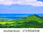 Kaneohe residential area and Marine Cobase Hawaii seen from Nuuanu Paris Observatory on Oahu, Hawaii