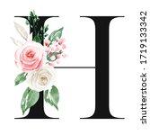 wedding monogram art  letter h... | Shutterstock . vector #1719133342